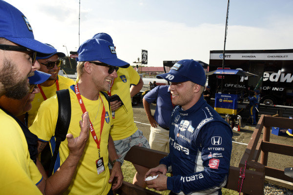 Felix Rosenqvist, Chip Ganassi Racing Honda celebrates his second place finish with Swedish fans