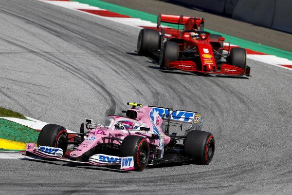 Lance Stroll, Racing Point RP20 leads Sebastian Vettel, Ferrari SF1000