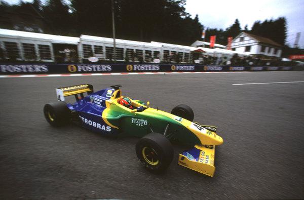 2001 F3000 ChampionshipSpa-Francorchamps, Belgium. 1st September 2001.Race winner Ricardo Sperafico (Petrobras Jnr), action.World Copyright: Charles Coates/LAT Photographicref: 35mm Image A04