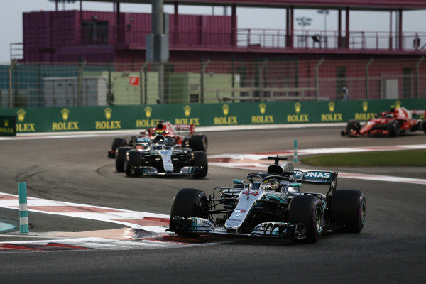 Lewis Hamilton, Mercedes AMG F1 W09 EQ Power+ leads Valtteri Bottas, Mercedes AMG F1 W09 EQ Power+, and Sebastian Vettel, Ferrari SF71H