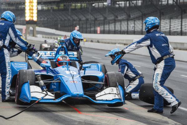 Felix Rosenqvist, Chip Ganassi Racing Honda pit fire