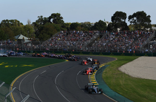 Lewis Hamilton (GBR) Mercedes-Benz F1 W08 Hybrid leads at the start of the race at Formula One World Championship, Rd1, Australian Grand Prix, Race, Albert Park, Melbourne, Australia, Sunday 26 March 2017.