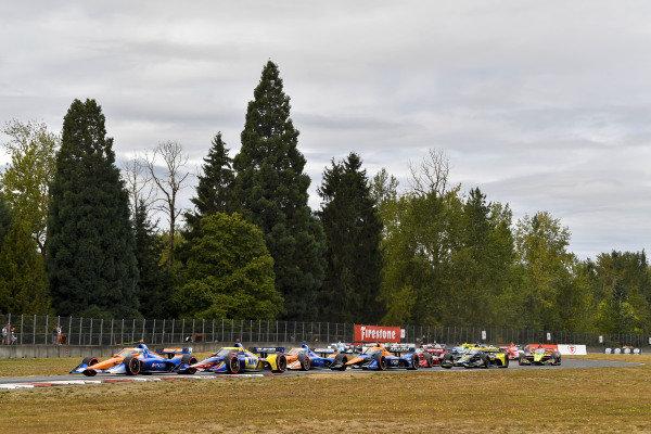 #10: Alex Palou, Chip Ganassi Racing Honda, start #27: Alexander Rossi, Andretti Autosport Honda #9: Scott Dixon, Chip Ganassi Racing Honda #7: Felix Rosenqvist, Arrow McLaren SP Chevrolet