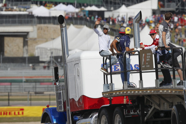 Lewis Hamilton (GBR) Mercedes AMG F1, Kimi Raikkonen (FIN) Ferrari and drivers on the drivers parade at Formula One World Championship, Rd18, United States Grand Prix, Race, Circuit of the Americas, Austin, Texas, USA, Sunday 23 October 2016.