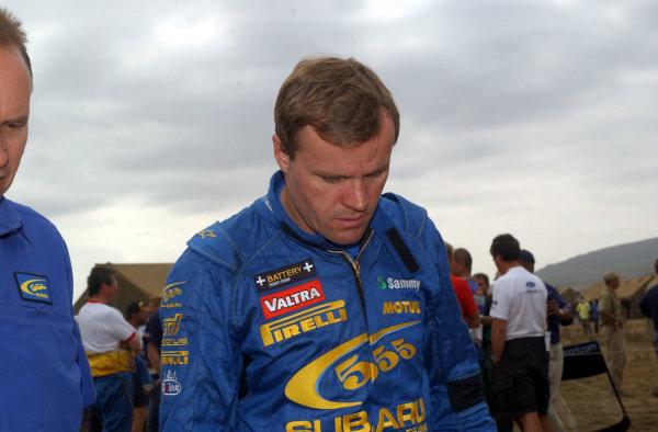 2002 World Rally Championship.Safari Rally, Nairobi Kenya, July 11-14th.Tommi Makinen - down and out.Photo: Ralph Hardwick/LAT