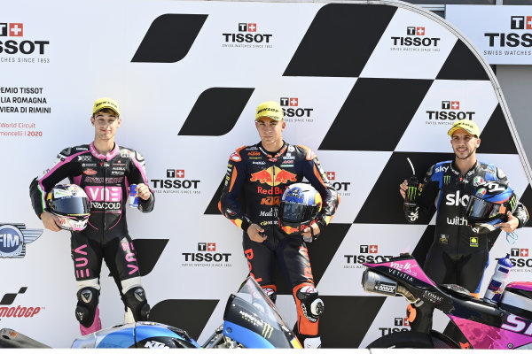 Tony Arbolino, Snipers Team, Pole winner Raul Fernandez, Red Bull KTM Ajo, Andrea Migno, Sky Racing Team VR46