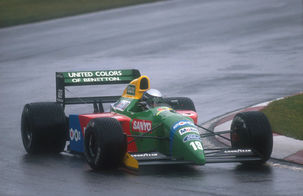 1990 Canadian Grand Prix.Montreal, Canada.8-10 June 1990.Alessandro Nannini (Benetton B190 Ford). He exited the race after spinning out on lap 23. He had earlier hit a groundhog on the track which damaged his front wing and made him take an extra pitstop. He then charged back through the field until his off.Ref-90 CAN 12.World Copyright - LAT Photographic