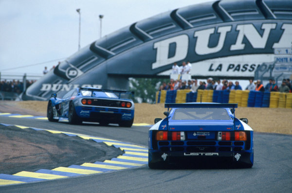 Le Mans, France. 17th - 18th June 1995.Fabien Giroix/Jean-Denis Deletraz/Olivier Grouillard (McLaren F1 GTR), 5th position, leads Geoff Lees/Dominic Chappell/Rupert Keegan (Lister Storm GTS-Jaguar), retired, action.World Copyright: LAT Photographic.Ref: 35mm colour transparency.