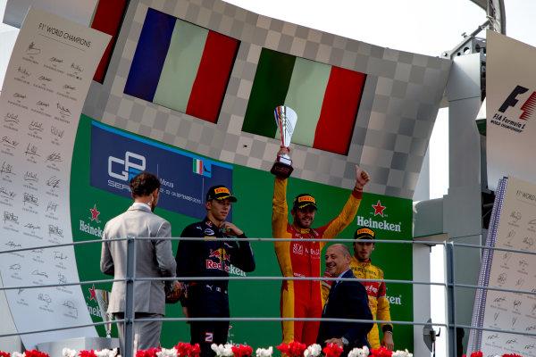 2016 GP2 Series Round 9. Autodromo Nazionale di Monza, Monza, Italy. Sunday 4 September 2016. Pierre Gasly (FRA, PREMA Racing), Norman Nato (FRA, Racing Engineering), Antonio Giovinazzi (ITA, PREMA Racing)  Photo: Zak Mauger/GP2 Series Media Service. ref: Digital Image _L0U6165