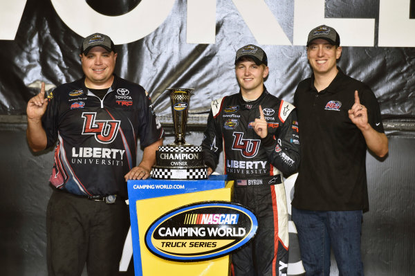 18 November, 2016, Homestead, Florida USA William Byron with Kyle Busch and the Owners Championship ? 2016, Nigel Kinrade LAT Photo USA