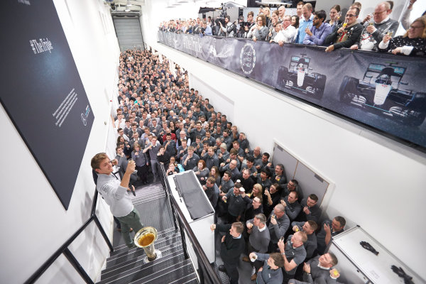 2016 Mercedes AMG F1 World Championship Celebrations. Mercedes F1, Brackley, UK Thursday 1st December 2016. F1 World Champion Nico Rosberg pays a visit to the factory with the FIA trophy. Photo: Steve Etherington/LAT Photographic ref: Digital Image SNE22593