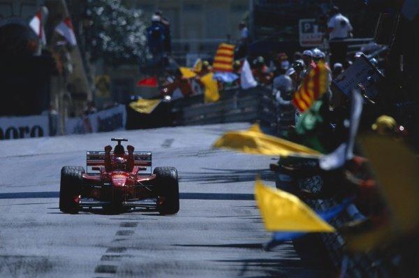 1999 Monaco Grand Prix. Monte Carlo, Monaco. 13-16 May 1999. Michael Schumacher (Ferrari F399), 1st position. World Copyright: Coates/LAT Photographic Ref: 99MON23