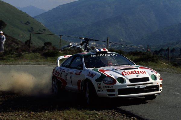 1995 World Rally Championship.Tour de Corse, Corsica, France. 3-5 May 1995.Didier Auriol/Denis Giraudet (Toyota Celica GT-4), 1st position.World Copyright: LAT PhotographicRef: 35mm transparency 95RALLY12