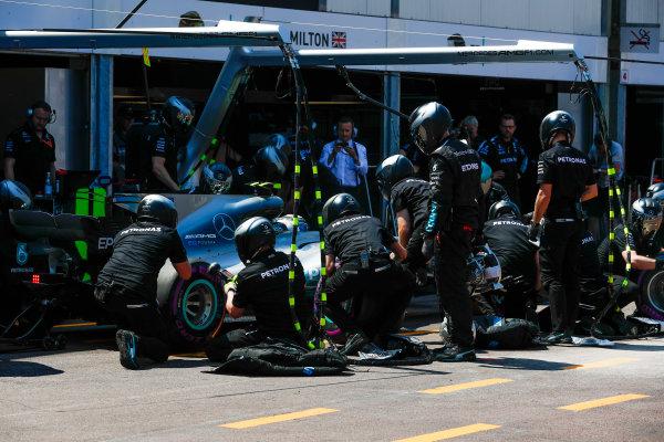 Monte Carlo, Monaco. Saturday 27 May 2017. Valtteri Bottas, Mercedes F1 W08 EQ Power+, in the pits during Qualifying. World Copyright: Glenn Dunbar/LAT Images ref: Digital Image _X4I9129