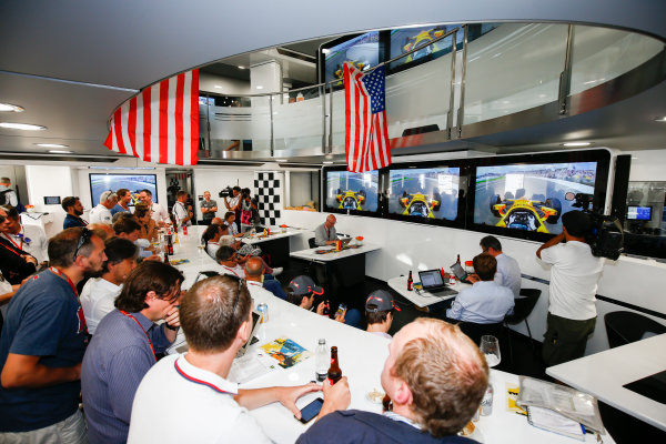 Monte Carlo, Monaco. Sunday 28 May 2017. McLaren adopts a distinctly American feel in the hospitality area, in celebration of their participation in the Indy 500 with Fernando Alonso, McLaren. World Copyright: Andy Hone/LAT Images ref: Digital Image _ONZ0928