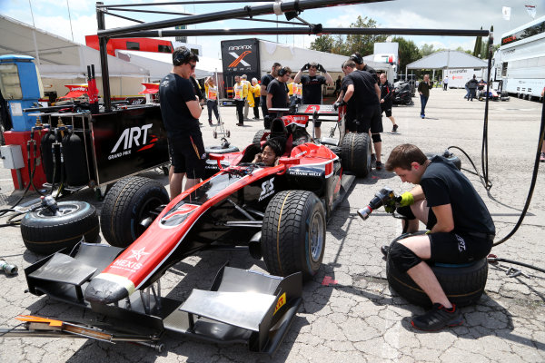 2017 FIA Formula 2 Round 2. Circuit de Catalunya, Barcelona, Spain. Thursday 11 May 2017. Nobuharu Matsushita, ART Grand Prix during pitstop practice Photo: Jed Leicester/FIA Formula 2. ref: Digital Image JL1_9002