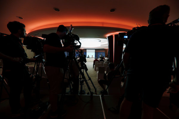 Bahrain International Circuit, Sakhir, Bahrain.  Wednesday 12 April 2017. Fernando Alonso and Zak Brown, Executive Director, McLaren Technology Group, announce Fernando's deal to race in the 2017 Indianapolis 500 in an Andretti Autosport run McLaren Honda car. World Copyright: Glenn Dunbar/LAT Images ref: Digital Image _X4I0224