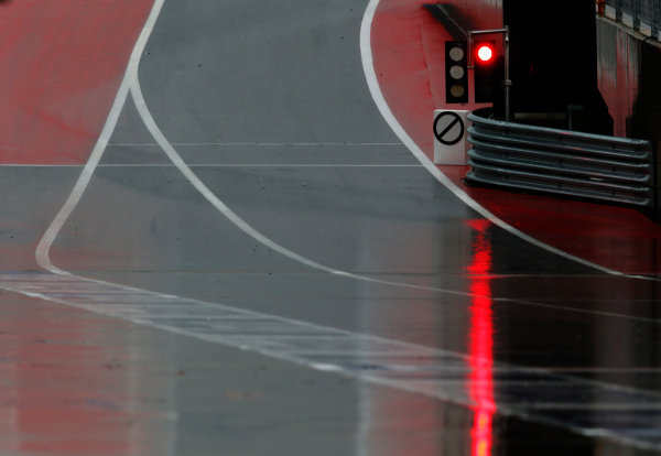 Circuit of the Americas, Austin, Texas, United States of America. Friday 23 October 2015. A river of rainfall flows across the pit lane. World Copyright: Steven Tee/LAT Photographic. ref: Digital Image _L4R6632