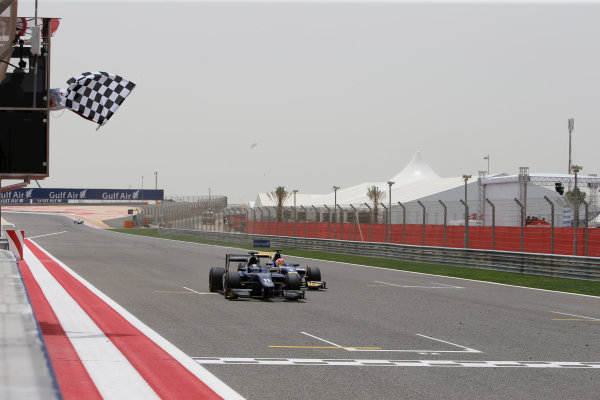 2013 GP2 Series. Round 2.  Bahrain International Circuit, Sakhir, Bahrain. 21st April.  Sunday Race.  Sam Bird (GBR, RUSSIAN TIME) crosses the line to take victory. Action.  World Copyright: Glenn Dunbar/GP2 Series Media Service. Ref: _89P4225