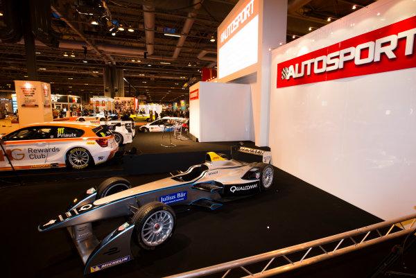 Autosport International Exhibition. National Exhibition Centre, Birmingham, UK. Thursday 8 January 2015. Formula E car on the Autosport stage. World Copyright: Malcolm Griffiths/LAT Photographic. ref: Digital Image F80P1999