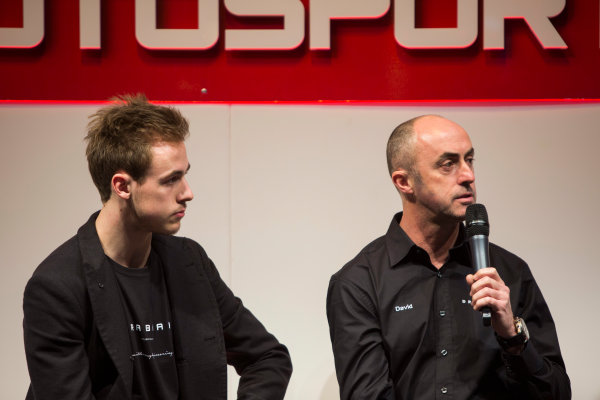 Autosport International Exhibition. National Exhibition Centre, Birmingham, UK. Sunday 11 January 2015. David Brabham and Sam Brabham on the Autosport stage. World Copyright: Malcolm Griffiths/LAT Photographic. ref: Digital Image A50A3050