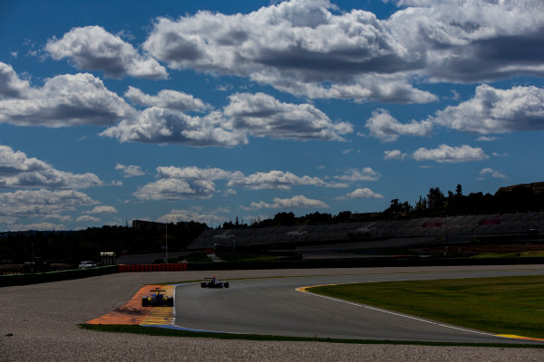 2016 GP3 Series Testing. Circuit Ricardo Tormo, Valencia, Spain. Friday 8 April 2016. Giuliano Alesi (FRA, Trident) leads Santino Ferrucci (USA, DAMS). World Copyright: Zak Mauger/LAT Photographic. ref: Digital Image _L0U3596