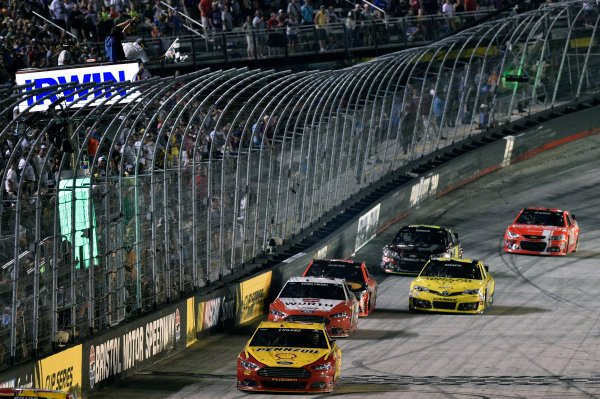 22-23 August, 2014, Bristol, Tennessee USA Joey Logano takes the checkered flag and the win  ? 2014, Nigel Kinrade LAT Photo USA