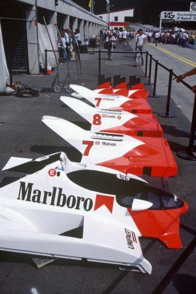 1982 Austrian Grand Prix.Osterreichring, Austria. 15 August 1982.McLaren MP4/1B bodywork in the pitlane.World Copyright: LAT PhotographicRef: 35mm transparency 82AUT