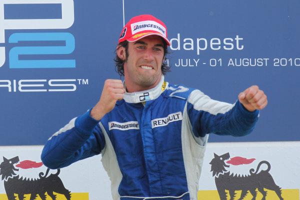 Hungaroring, Budapest, Hungary. 1st August.Sunday Race.Giacomo Ricci (ITA, DPR) celebrates his victory on the podium. Portrait.Photo: Glenn Dunbar/GP2 Media Service.Ref: __G7C5705 jpg