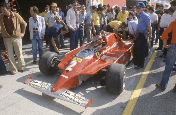 1980 Italian Grand Prix.Imola, Italy. 12-14 September 1980.Gilles Villeneuve (Ferrari 126 turbo) in practice.World Copyright: LAT PhotographicRef: 35mm transparency 80ITA09