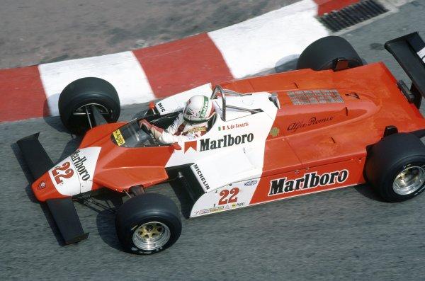 1982 Monaco Grand Prix.Monte Carlo, Monaco. 20-23 May 1982.Andrea de Cesaris (Alfa Romeo 182), 3rd position.World Copyright: LAT PhotographicRef: 35mm transparency 82MON02