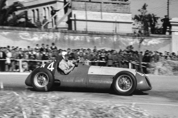 "1951 Spanish Grand Prix.Pedralbes, Barcelona, Spain. 28 October 1951.Francesco ""Chico"" Godia-Sales (Maserati 4CLT/48). Ref-51/65 #23.World Championship - LAT Photographic"