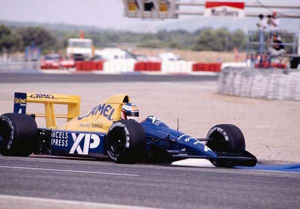 1989 French Grand Prix. Paul Ricard, Le Castellet, France. 7-9 July 1989. Jean Alesi (Tyrrell 018 Ford) 4th position on his Grand Prix debut. Ref-89 FRA 37. World Copyright - LAT Photographic
