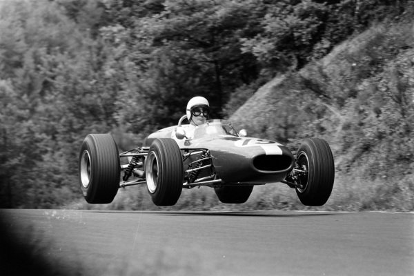Bob Anderson, Brabham BT11 Climax, gets airborne.