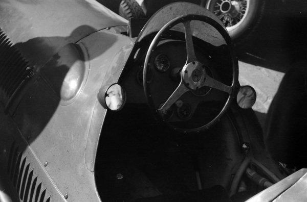 The cockpit of a Ferrari 375.