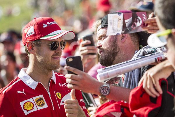 Sebastian Vettel (GER) Ferrari fans selfie at Formula One World Championship, Rd9, Austrian Grand Prix, Qualifying, Spielberg, Austria, Saturday 8 July 2017.