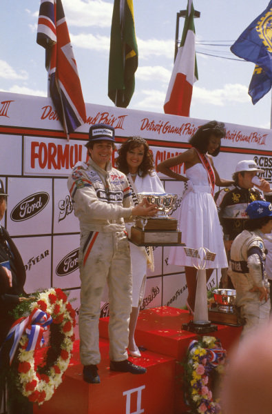 Detroit, Michigan, USA.22-24 June 1984.Martin Brundle (Tyrrell Ford) 2nd position on the podium. He would loose his position at the end of the season, after the Tyrrell team was disqualified from the World Championship due to fuel irregularities.Ref-84 USA 09.World Copyright - LAT Photographic