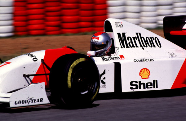 1993 South African Grand Prix.Kyalami, South Africa.12-14 March 1993.Michael Andretti (McLaren MP4/8 Ford). He exited the race after he hit the back of Warwick in his debut Grand Prix. Ref: 93SA20. World Copyright - LAT Photographic