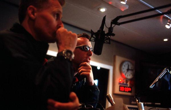 Jaguar at Capital FM.London, England. 19th April 2000.Johnny Herbert and Eddie Irvine visit the set of Radio station Capital FM, to promote Jaguars first British Grand Prix.World Copyright - Coates/LAT Photographic