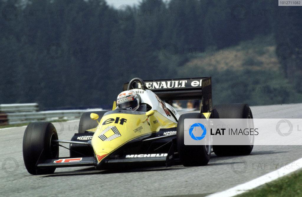 1983 Austrian Grand Prix.Osterreichring, Zeltweg, Austria.14 August 1983.Alain Prost (Renault RE40).World Copyright - LAT Photographic