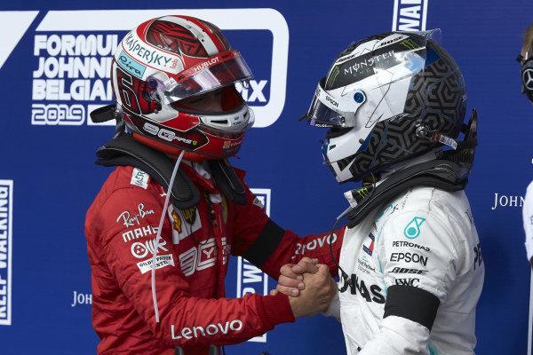 Valtteri Bottas, Mercedes AMG F1, 3rd position, congratulates Charles Leclerc, Ferrari, 1st position, in Parc Ferme