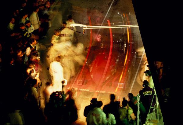 Le Mans, France. 22 - 23 June 1991. A night pit stop for the TWR Silk Cut Jaguar team. World Copyright: LAT Photographic. Exhibition Ref: A045