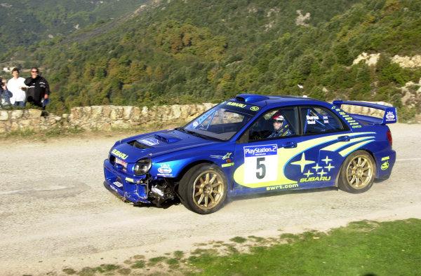 2001 World Rally Championship.Rallye de France, Ajaccio, Corsica, October 19-21.Richard Burns on stage 2 after damaging the car just 500m earlier.Photo: Ralph Hardwick/LAT