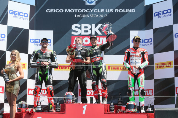 2017 Superbike World Championship - Round 8 Laguna Seca, USA. Sunday 9 July 2017 Podium: winner Jonathan Rea, Kawasaki Racing, second place Tom Sykes, Kawasaki Racing, third place Chaz Davies, Ducati Team World Copyright: Gold and Goose/LAT Images ref: Digital Image 683463