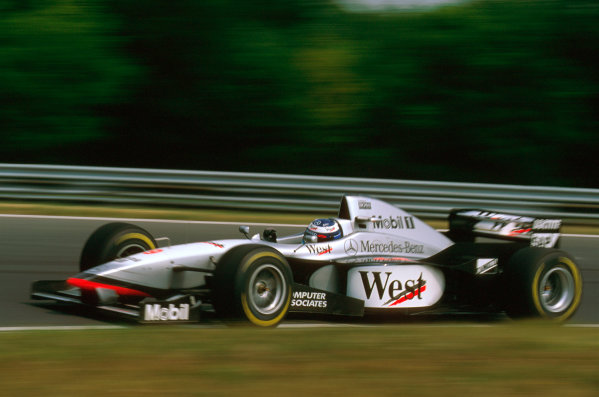 Hungaroring, Hungary.8-10 August 1997.Mika Hakkinen (McLaren MP4/12 Mercedes) failed to finish because of hydraulics on lap 12.Ref-97 HUN 05.World  Copyright - LAT Photographic
