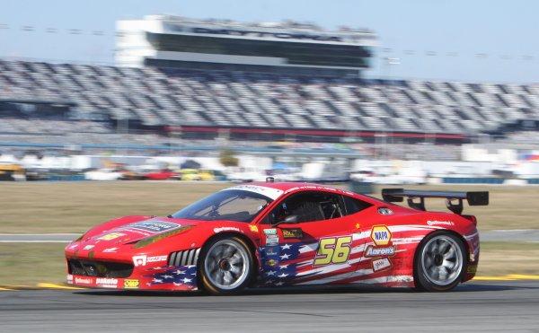 26-29 January, 2012, Daytona Beach, Florida USAThe #56 Ferrari of Michael Waltrip, Travis Pastrana, Robert Kauffman and Rui Aguas is shown in action during the Rolex 24 at Daytona.(c)2012, R D. EthanLAT Photo USA
