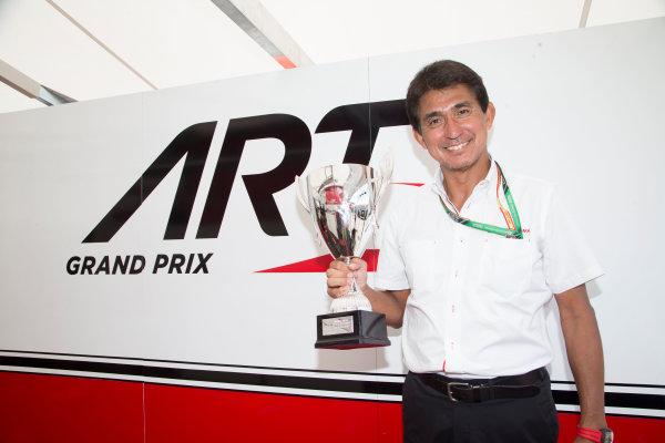 2017 GP3 Series Round 1.  Circuit de Catalunya, Barcelona, Spain. Sunday 14 May 2017. Aguri Suzuki poses with the Gp3 trophy won by Nirei Fukuzumi (JPN, ART Grand Prix)  Photo: Jed Leicester/GP3 Series Media Service. ref: Digital Image JL1_0403