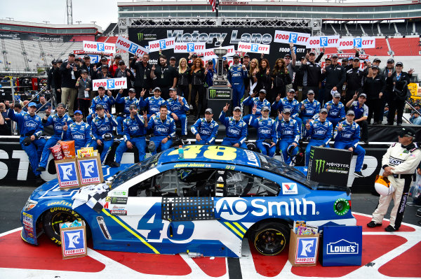 Monster Energy NASCAR Cup Series Food City 500 Bristol Motor Speedway, Bristol, TN USA Monday 24 April 2017 Jimmie Johnson celebrates his win in Victory Lane World Copyright: Nigel Kinrade LAT Images ref: Digital Image _RJ48261