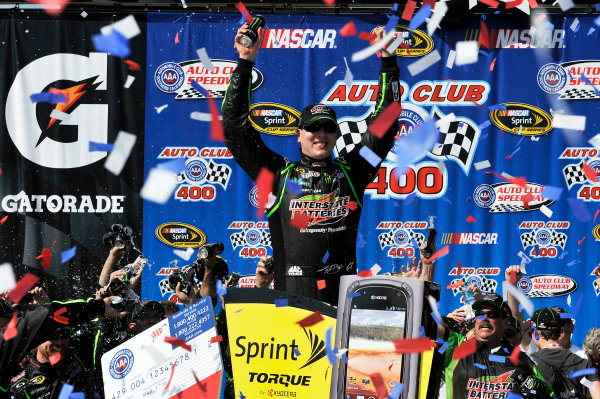 22-24 March 2013, Fontana, California USA Kyle Busch celebrates the win in Victory Lane ©2013, Scott R LePage LAT Photo USA