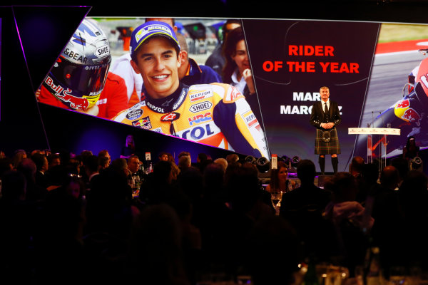 2017 Autosport Awards Grosvenor House Hotel, Park Lane, London. Sunday 3 December 2017. Sunday 3 December 2017. David Coulthard introduces the Rider of the Year Award. World Copyright: Joe Portlock/LAT Images Ref: Digital Image _o3i6964
